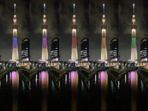 東京 貸切り 屋形船 周辺観光地 東京スカイツリー オリンピック柄写真