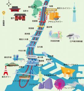 貸切り屋形船 東京スカイツリー東京湾コース マップ