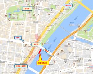 屋形船あみ清乗船場マップ
