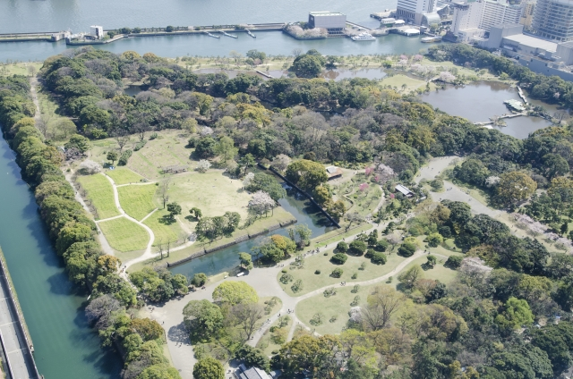 東京の浜離宮の上空写真