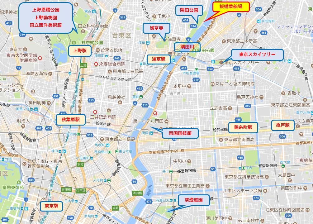 貸切り桜橋乗船場地図