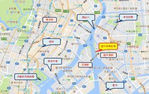 東京 貸切り 屋形船 越中島乗船場 地図