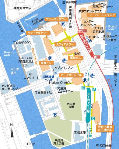東京天王洲アイルの島内マップ詳細