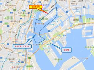 貸切り 屋形船 東京湾周遊コース マップ