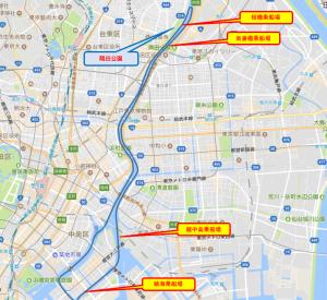 貸切り 屋形船 東京花見コース マップ
