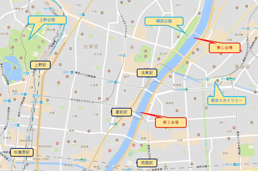 隅田川花火大会開催マップ