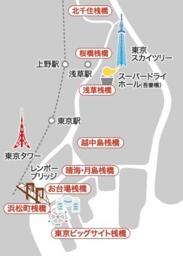 東京の濱田屋乗船マップ